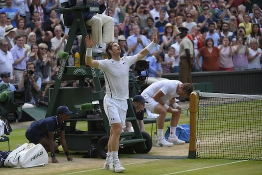 Andy Murray celebrates winning his match against Czech Republic's Tomas Berdych. (Reuters Image)