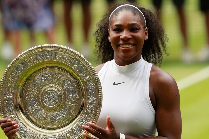 Serena Williams after she won her seventh Wimbledon title. (Getty Images)