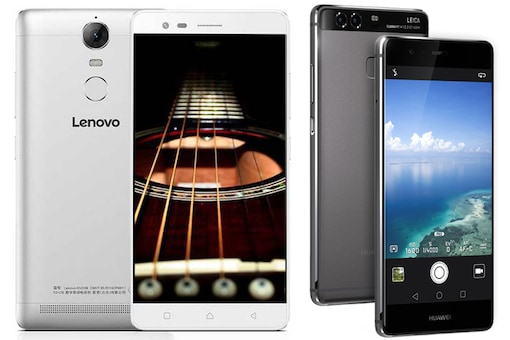 The photo features the Lenovo K5 Note (left) and the Huawei P9 (right) smartphones. (Images: Lenovo and Huawei)