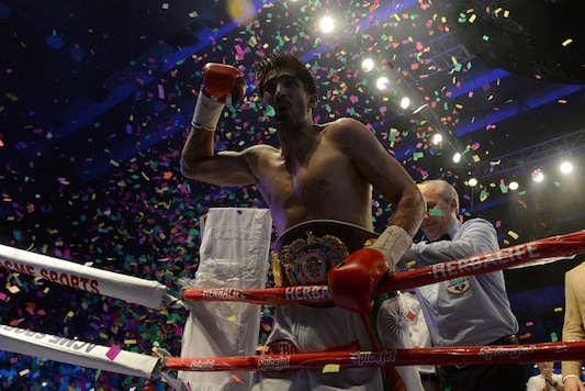 India's Vijender Singh after winning his maiden title as a professional boxer. (AFP)