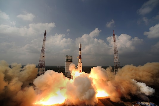 India's Mars bound rocket and Mars satellite blasted off on November 5, 2013 from India's launch pad.  Photo by Pallava Bagla/Corbis via Getty Images
