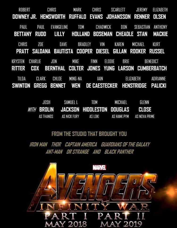 This Poster of Avengers Infinity War Features the Entire