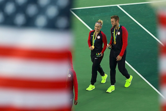 The US pair of Bethanie Mattek-Sands and Jack Sock. (Getty Images)