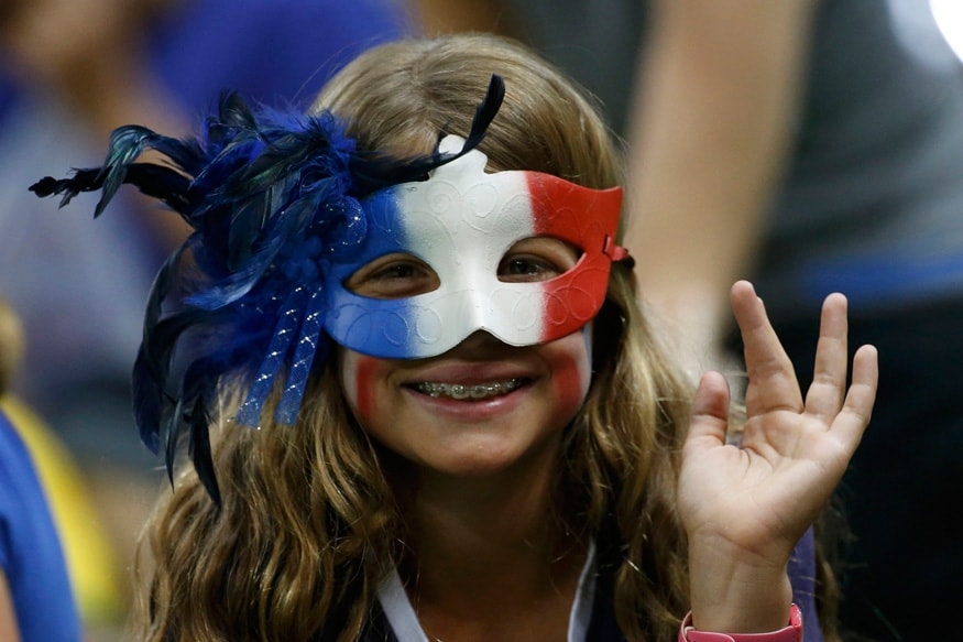 French supporter gestures during a Women's Basketball Preliminary Round game on Day 1. (Photo Credit: Reuters)