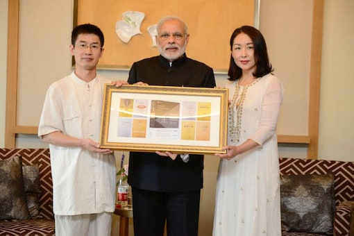 Prime Minister Narendra Modi was gifted a set of 10 Chinese translations of the ancient Indian texts by Indophile Professor Wang Zhicheng, who teaches Hindi at the prestigious Peking University. (Photo: Twitter/@MEAIndia)