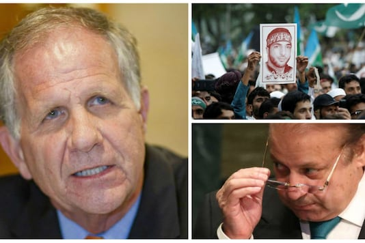 US Congressman Ted Poe (L), who is Chairman of the House Subcommittee on Terrorism and a picture of Hizbul Mujahideen commander Burhan Muzaffar Wani (Right Top) is held up during a rally condemning the violence in Kashmir. Pakistan Prime Minister Nawaz Sharif removes his eyeglasses after addressing the United Nations General Assembly in the Manhattan borough of New York, U.S., September 21, 2016/REUTERS