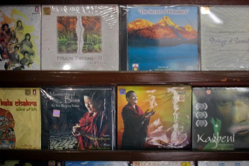 (Photo: AP/ music CD's of Buddhist nun Ani Choying Drolma are on display at a store in Kathmandu, Nepal.)