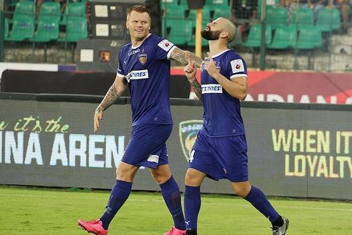 A file photo of Chennaiyin FC players celebrating a goal. (ISL)