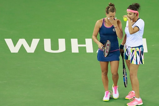 Sania Mirza and her Czech partner Barbora Strycova. ( Getty images )