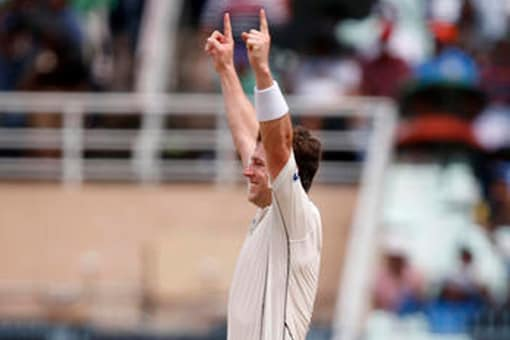 New Zealand's Matt Henry celebrates after picking wicket. ( Photo Credit: AP )