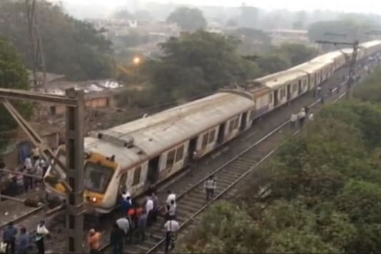 A TV grab of derailed Kurla-Ambarnath train