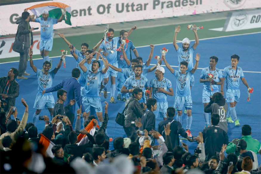 The Indian junior men's hockey team members rejoice after beating Belgium 2-1 in the final of Junior Hockey World Cup (Courtesy: Hockey India)
