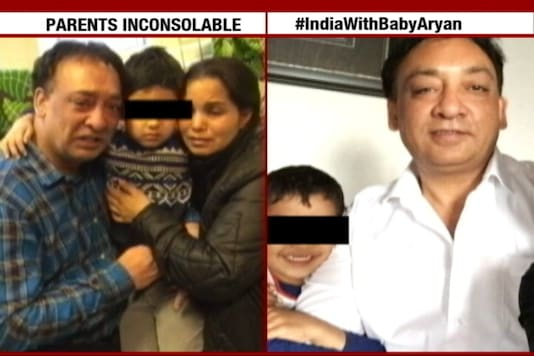 A TV grab of five-year-old Aryan with his family. (CNN-News18)