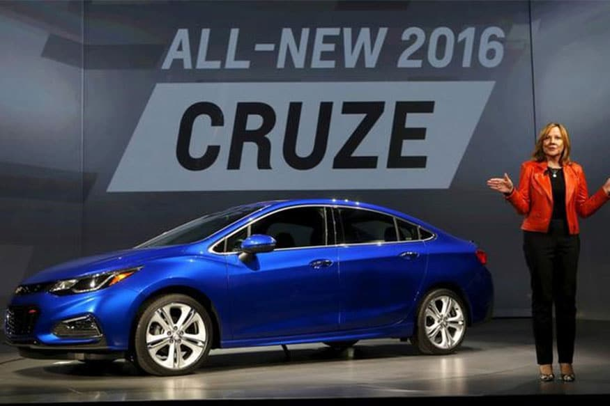 General Motors CEO Mary Barra talks about the new 2016 Chevy Cruze vehicle at the Filmore Theater in Detroit, Michigan.(Photo: Reuters)