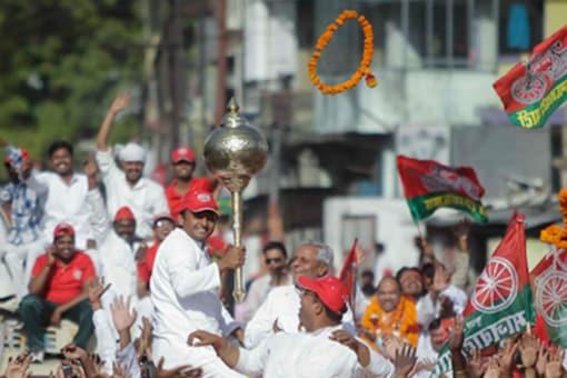 Uttar Pradesh Chief Minister Akhilesh Yadav during a public rally/File photo.