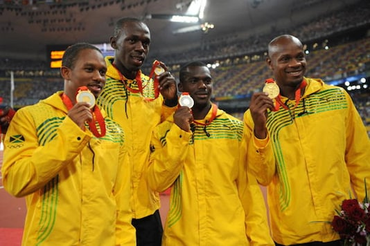 The Jamaican 4x100 relay team from 2008 Beijing Olympics (from left)  Michael Frater, Usain Bolt, Nesta Carter and Asafa Powell (Getty Images)
