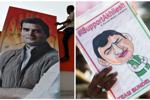 Cutout and caricature of Congress vice president Rahul Gandhi (L) and UP CM Akhilesh Yadav (R).