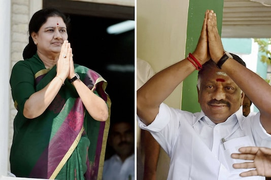 VK Sasikala and O Panneerselvam are locked in a bitter battle for the CM's chair in Tamil Nadu. (PTI photo)