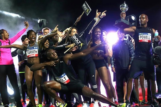 Champion sprinter Usain Bolt leads the celebrations after guiding the 'All Stars' to victory in the Nitro Series (Reuters Photo)