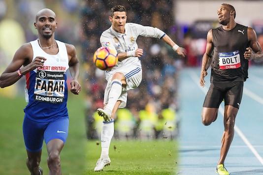 Usain Bolt, Cristiano Ronaldo and Mo Farah. (Getty Images)