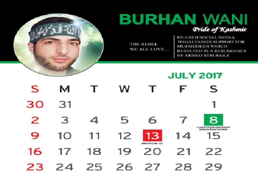 Page of the calendar showing Burhan Wani as the Pride of Kashmir. (Image: News18India)