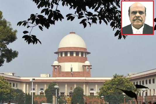 File photo of Supreme Court and image of Justice CS Karnan (inset).