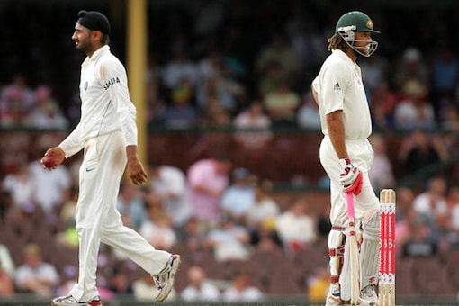 File image of Andrew Symonds (R) and Harbhajan Singh during the infamous second Test of the 2008 series. (Getty Images)