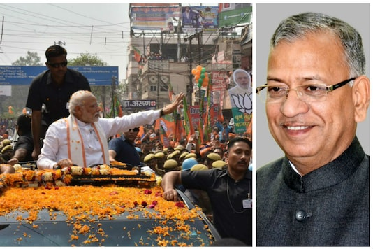 PM Narendra Modi (L) waves to people during his road show in Varanasi on Sunday; File photo of BHU VC GC Tripathi (R)/Courtesy: PTI & BHU