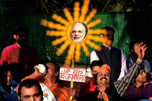 BJP supporters celebrating massive victory in UP state elections.