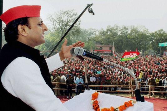 Uttar Pradesh CM Akhilesh Yadav addresses an election rally in UP. (PTI)