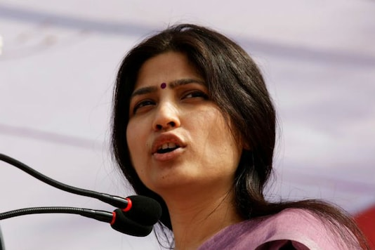 Dimple Yadav, wife of UP chief minister Akhilesh Yadav, addressing an election campaign rally/Reuters