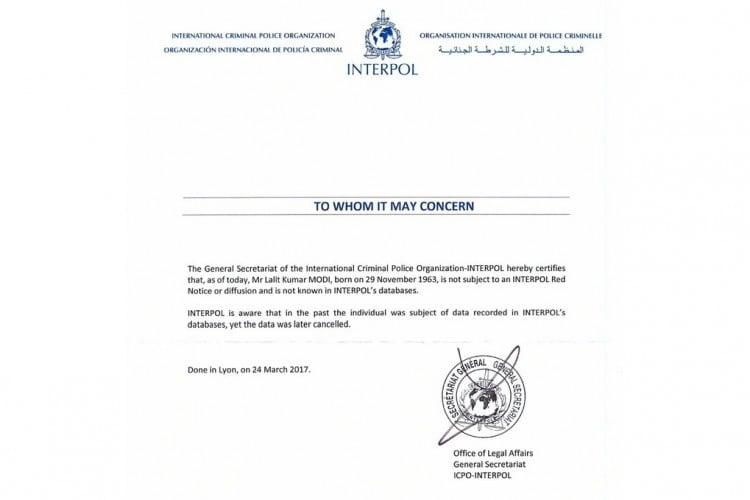 interpol letter, lalit modi