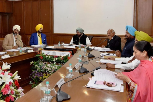Punjab Chief Minister Captain Amarinder Singh presiding over the Cabinet meeting at Punjab Bhawan, in Chandigarh (PTI Photo)