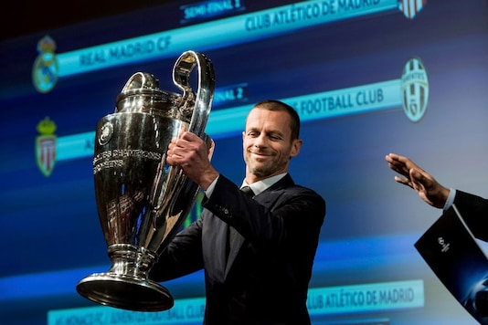 Nyon: UEFA president Aleksander Ceferin holds the UEFA Champions League trophy during the semi-final draw of the UEFA Champions League 2016/17 at the UEFA Headquarters, in Nyon, Switzerland, Friday, April 21, 2017. (Image: AP/PTI)