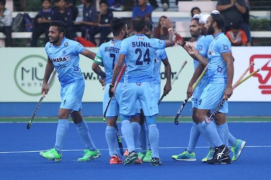 File image of Indian men's hockey team celebrating a goal. (Image credit: Hockey India.)