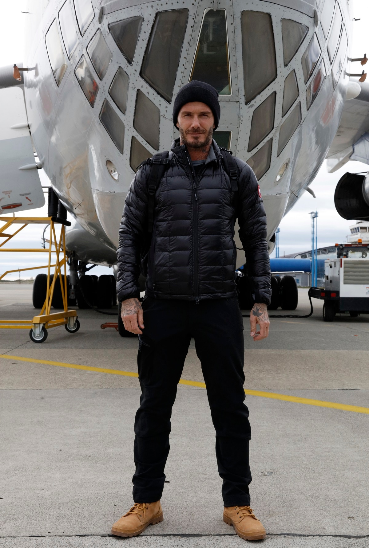 (David Beckham in Punta Arenas, Chile, ahead of a flight to Union Glacier, Antarctica. Image Courtesy: BBC)