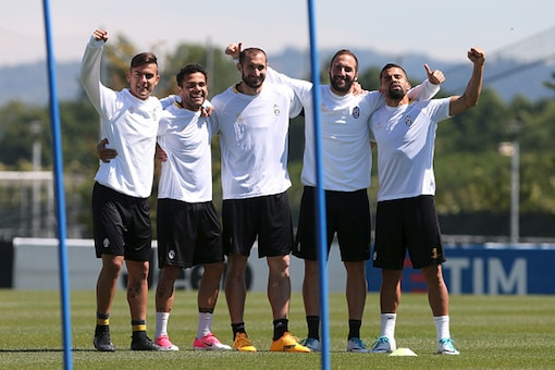 Juventus players during training ahead of the clash against Monaco. (Getty Images)