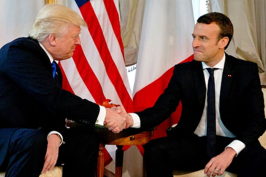 Representational Image of US President Donald Trump with French President Emmanuel Macron. (REUTERS)