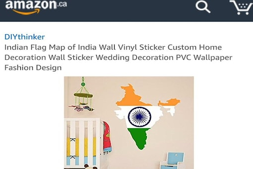 The Indian map is sold by a newly-registered seller on the platform called DIYthinker for C$25.35. (Image: Twitter)