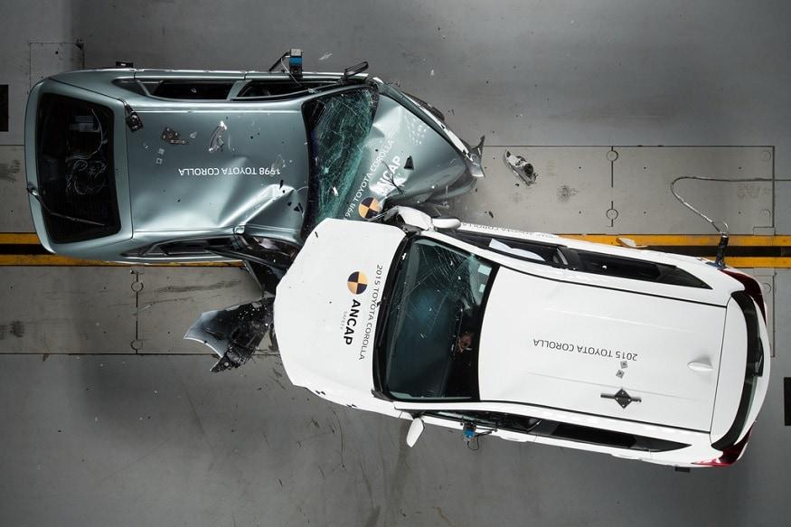 1998 Toyota Corolla vs. 2015 Toyota Corolla (Photo: ANCAP)