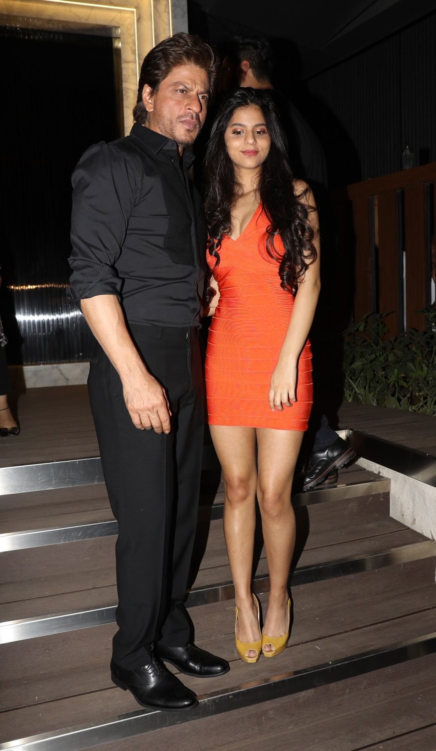 Shah Rukh Khan with daughter Suhana Khan arrive at the opening of restaurant 'Arth' designed by Gauri Khan.