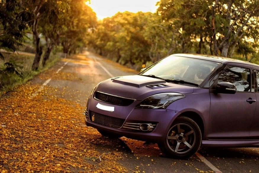 Maruti Suzuki Swift Modified With Matte Purple Wrap and Sporty Body