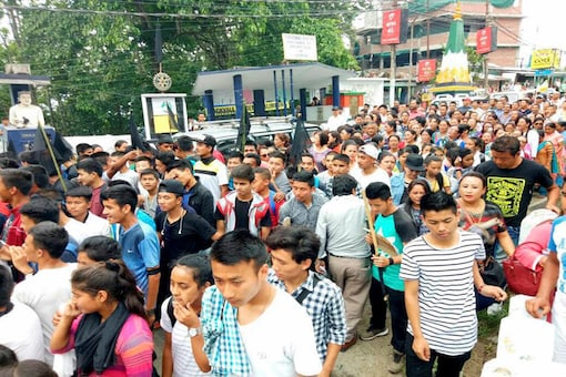 Gorkha Janmukti Morcha (GJM) supporters  during a protest in Darjeeling. (PTI Photo)