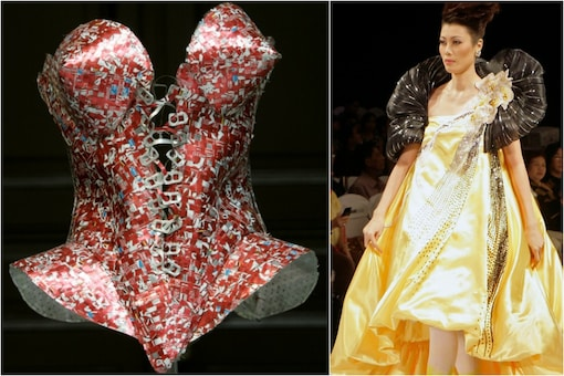 (Photo: Reuters/ A corset made from cans is on display during an exhibition/ A model wears a dress made of organic and indigenous materials during a fashion week in Manila/Image for representation)