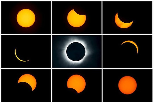 A combination photograph shows the beginning (top L) to the end (top L to bottom R) of a total solar eclipse as seen from the beach of Ternate island, Indonesia (File photo/REUTERS)