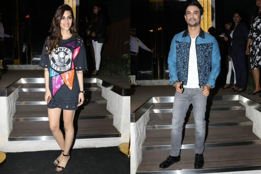 Kriti Sanon and Sushant Singh Rajput arrive at the opening of restaurant Arth, designed by Gauri Khan.