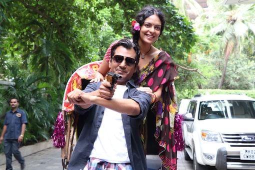 Nawazuddin Siddiqui and Bidita Bag during trailer launch event of 'Babumoshai Bandookbaaz' in mumbai. (Image: Yogen Shah)