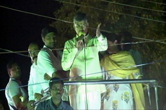 Andhra Pradesh CM Chandrababu Naidu addresses public at a rally in Kurnool. (Photo: CNN-News18)