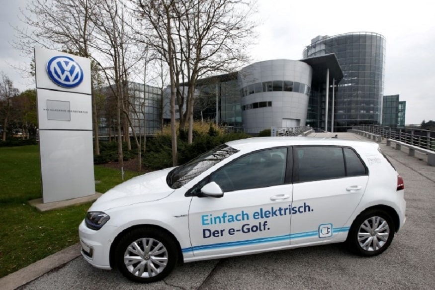An e-Golf electric car is pictured outside the new production line of the Transparent Factory of German carmaker Volkswagen. (Image: Reuters)