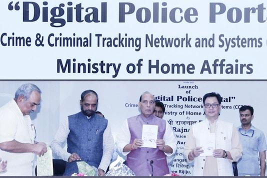 Home Minister Rajnath Singh launching the digital policing portal. Source: Twitter/Kiren Rijiju